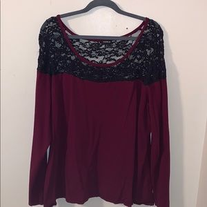 Torrid lace top maroon long sleeve shirt
